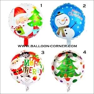 Balon Foil Bulat Seri MERRY CHRISTMAS