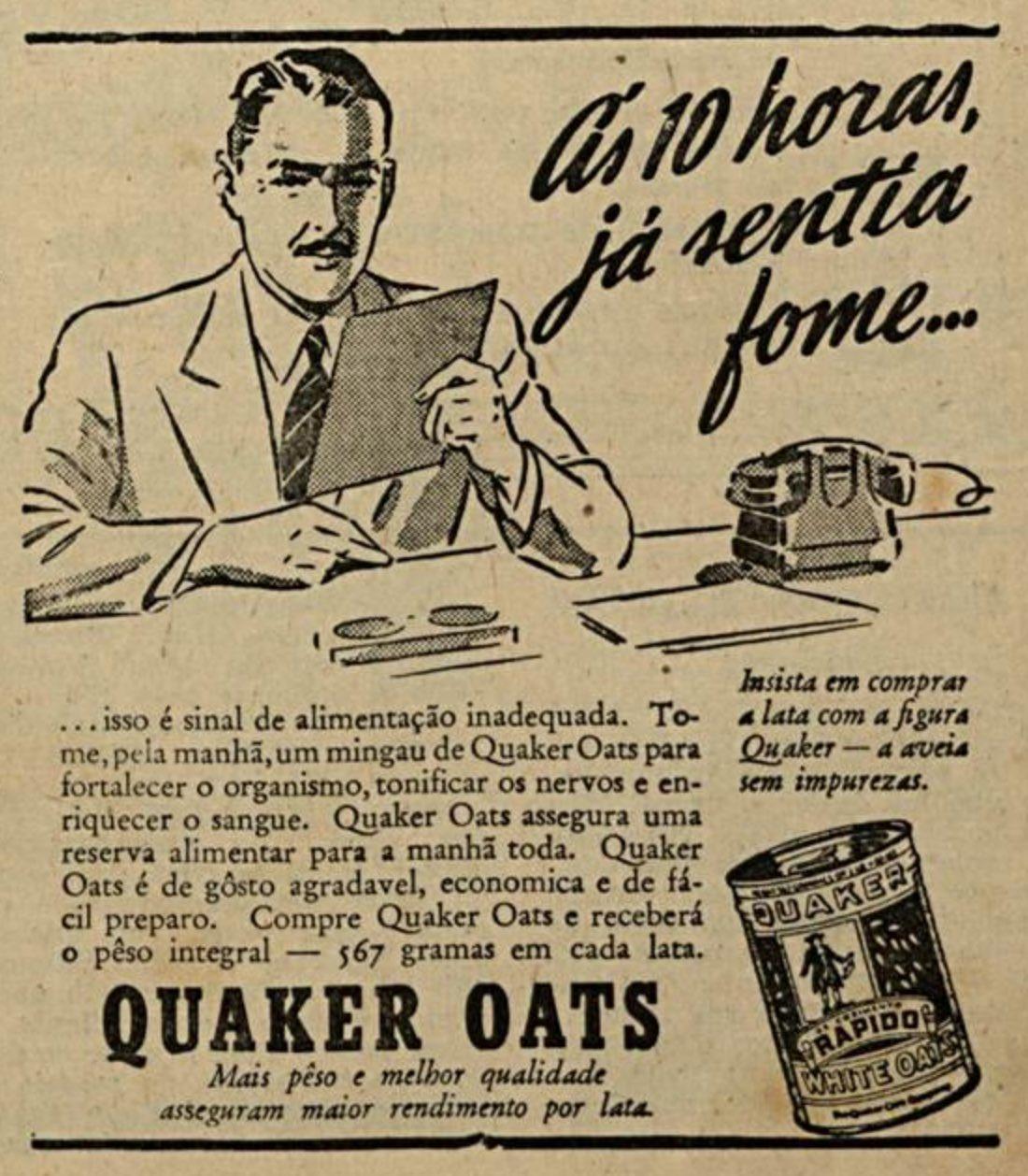 Propaganda antiga da Aveia Quaker em 1942