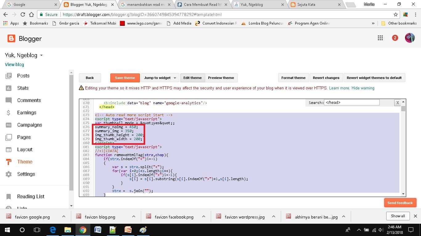 cara mudah menambahkan read more pada blogspot masukkan kode html