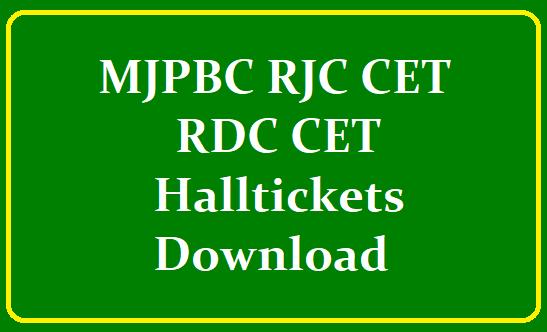 MJPBC RJC CET-2021 & RDC CET-2021 Halltickets Download