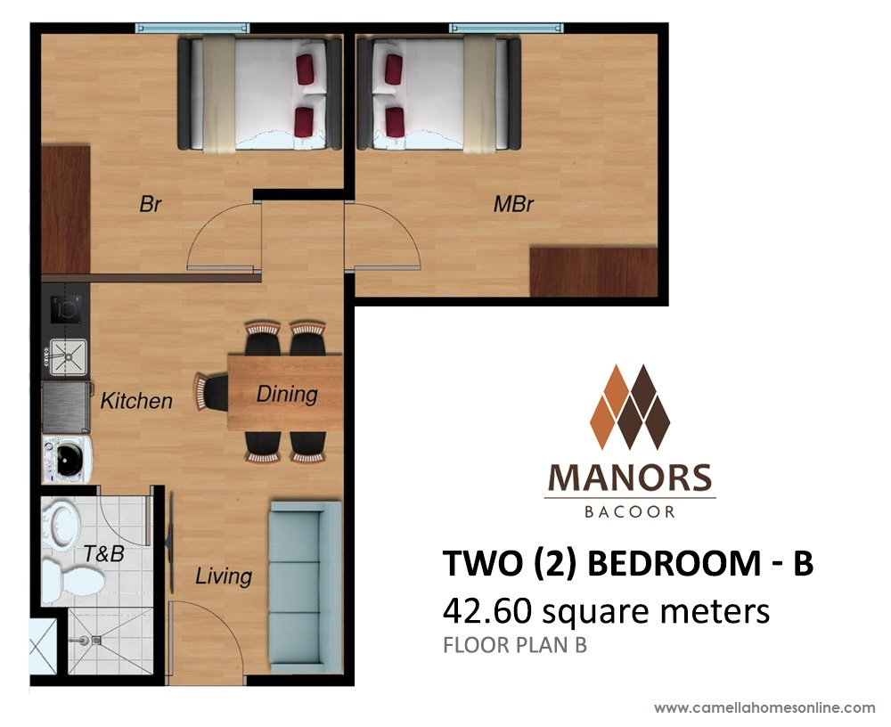Floor Plan of Two (2) Bedroom 42.6 Sqm - Camella Condo Homes Bacoor | Condo for Sale Bacoor Cavite