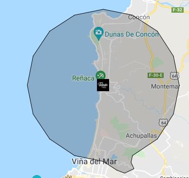 Cobertura Despacho Testardos Pizza - Vta Región
