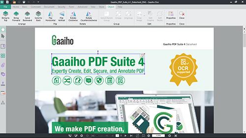 使用文電通裡的編輯文字與影像功能調整PDF文件中的物件