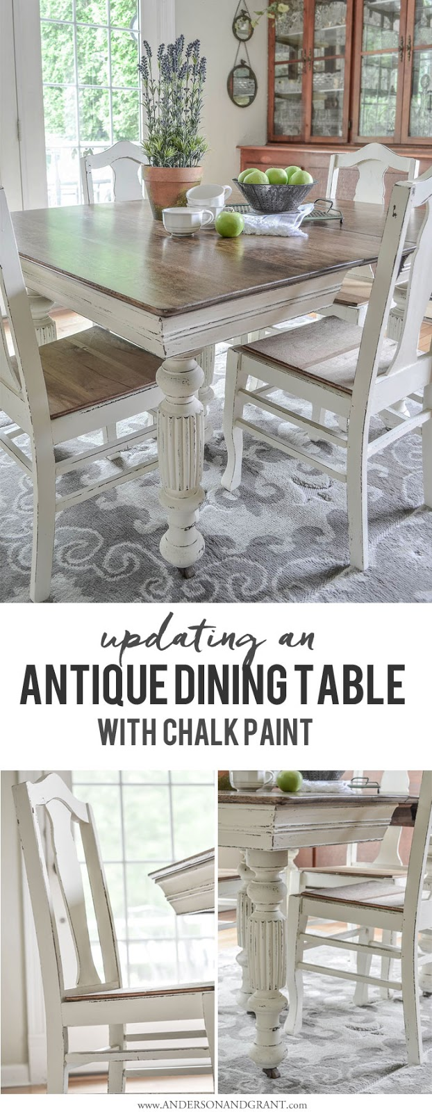 Admirable Antique Dining Table Updated With Chalk Paint Anderson Grant Download Free Architecture Designs Grimeyleaguecom