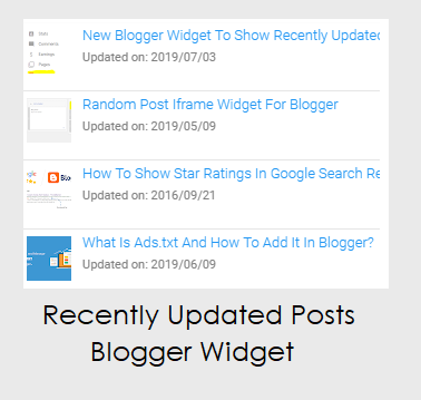 New Blogger Widget To Show Recently Updated Posts