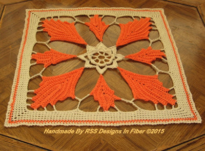 Orange Fall Leaves Mat - 14 Inch Square Table Topper - Handmade By Ruth Sandra Sperling at RSS Designs In Fiber