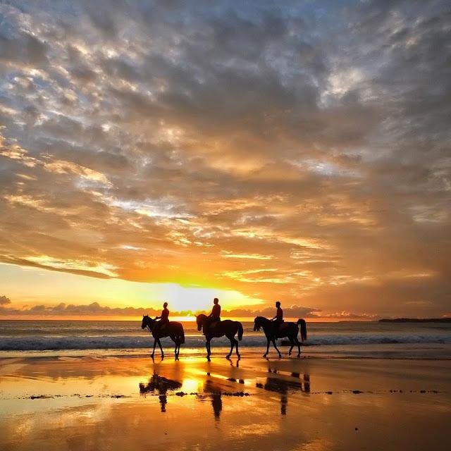 foto sunset dan berkuda di pantai nihiwatu