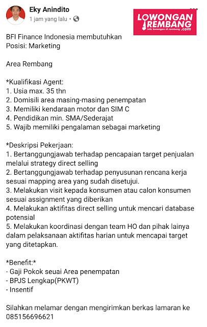 Lowongan Kerja Marketing PT BFI Finance Indonesia Cabang Rembang