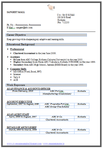 Resume Format Online Resume Creator From Kin India Over 10000 Cv And Resume Samples With Free Download