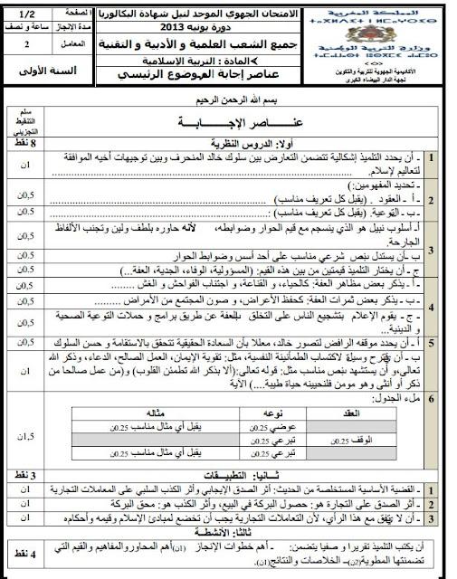 الأولى باكالوريا عناصر الإجابة الامتحان الجهوي الموحد في التربية الإسلامية مع التصحيح دورة يونيو نموذج1