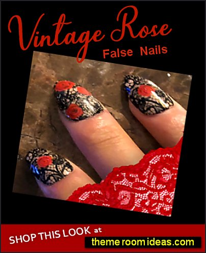 Vintage Rose Nails Black Lace Glue On Nails Coffin Stiletto Nails Rockabilly Press On Nails red rose nails black lace nail design