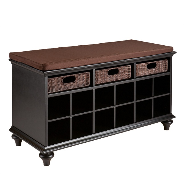 black wooden entryway storage bench design ideas
