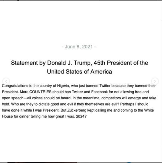 Trump congratulates Nigeria for suspending Twitter