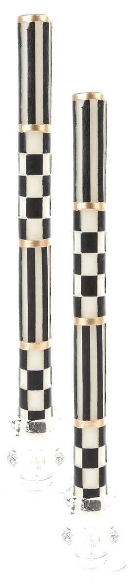 MacKenzie-Childs Check & Stripe Taper Candles, Set of 2