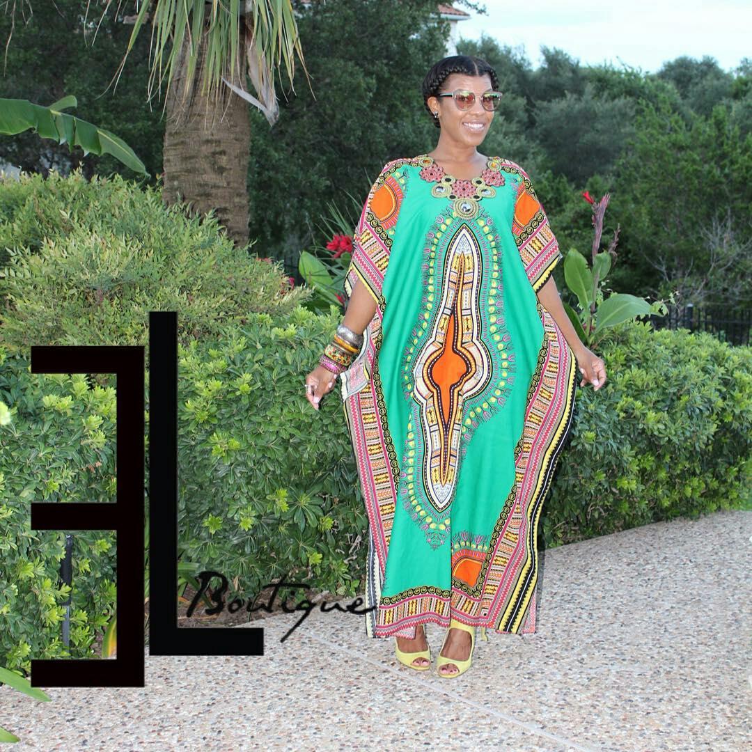 Dressing des 4 Saisons Exotic Luxxe African style Dashiki Dress robe kaftan vert emeraude Concours