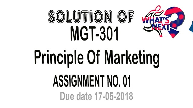 MGT 301 Assignment No. 1 Solution Spring 2018 Due Date 17-05-2018