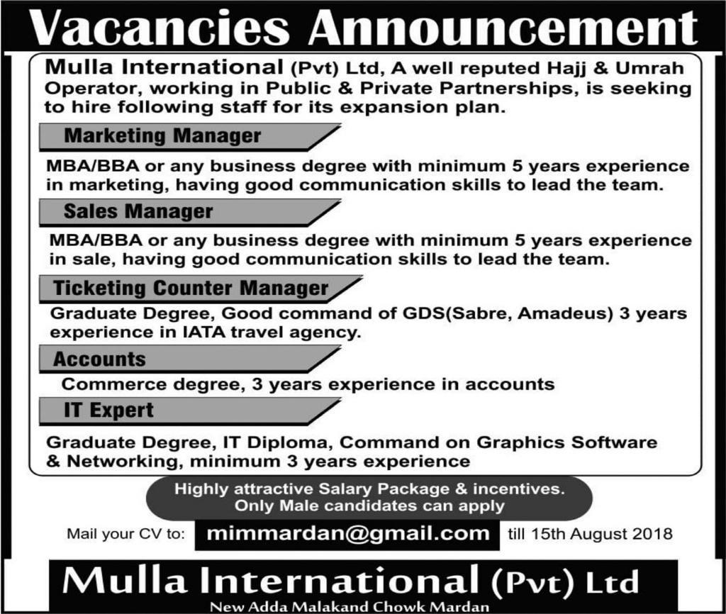Mulla International Pvt Ltd Jobs