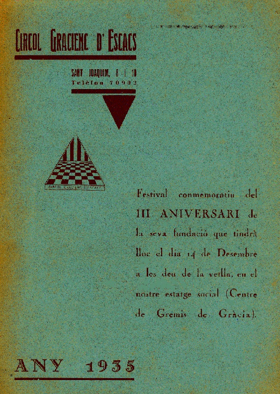 Boletín del III Aniversario del Círcol Gracienc d'Escacs