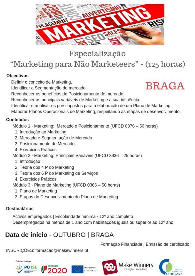 """Curso de Especialização """"Marketing para Não Marketeers"""" – Braga (com certificado)"""
