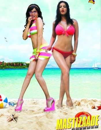 Poster Of Mastizaade 2016 Hindi 450MB HDRip 720p ESubs HEVC Watch Online Free Download downloadhub.in