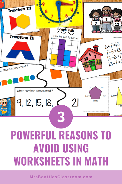 """Photo of guided math centers with text, """"3 Powerful Reasons to Avoid Using Worksheets in Math."""""""