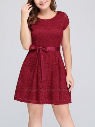 Plus Size A-Line Jewel Short Sleeves Bridesmaid dress– Price: US$ 99.00