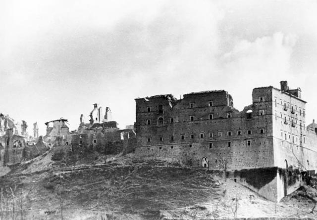 The ruins of Monte Cassino during World War II worldwartwo.filminspector.com