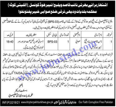 Latest Jobs in Local Government & Rural Development Department KPK 2021 in Pakistan