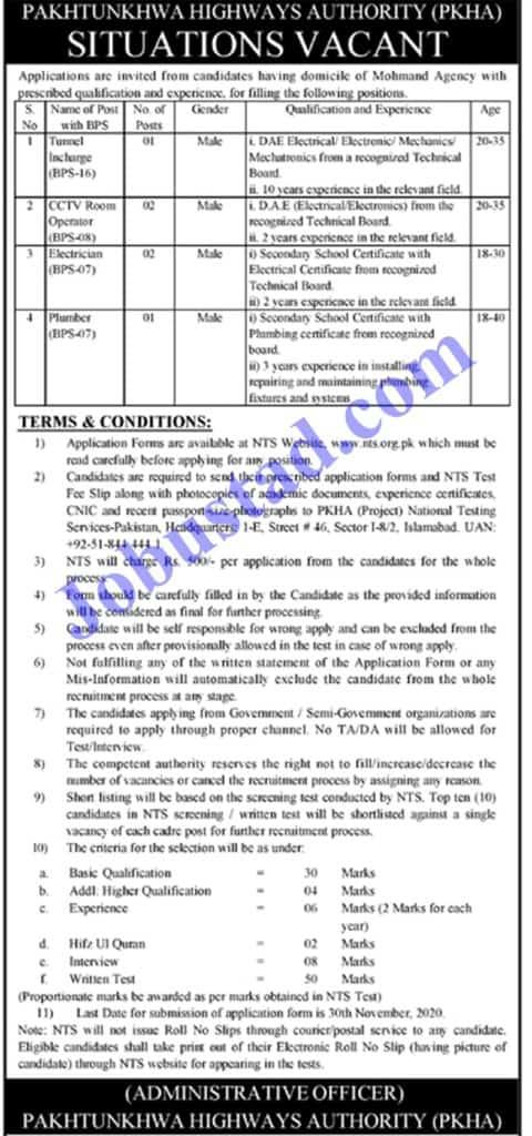 Jobs in Pakhtunkhwa Highways Authority PKHA Nov 2020