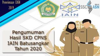 Pengumuman Hasil Seleksi Kompetensi Dasar (SKD) Penerimaan CPNS Kementerian Agama (IAIN Batusangkar)