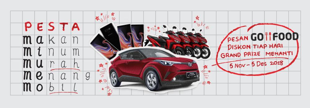 Gojek - Promo Pesta Makan Minum Murah Menang Mobil (s.d 5 Des 2018)