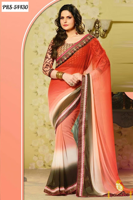 Bollywood actress heroine zarine in orange silk bollywood saree online shopping with discount offer price