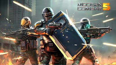 لعبة التصويب و حرب الشوارع  Modern Combat 5: eSports FPS مهكرة للأندرويد
