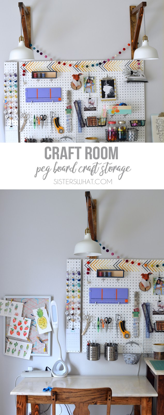 Organizing craft supplies and sewing supplies on a pegboard in a colorful and organized way in craft room