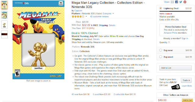 Amazon Prime Day Mega Man Legacy Collection Lightning Deal 3DS gold amiibo