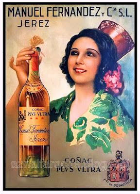 Cartel publicitario de Coñac Plus Ultra - Manuel Fernández y Cía. - JEREZ DE LA FRONTERA