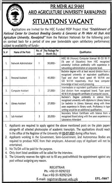 Pir Mehar Ali Shah ARID Agriculture University Rawalpindi Jobs in Pakistan 2021 – Jobs in Pakistan 2021