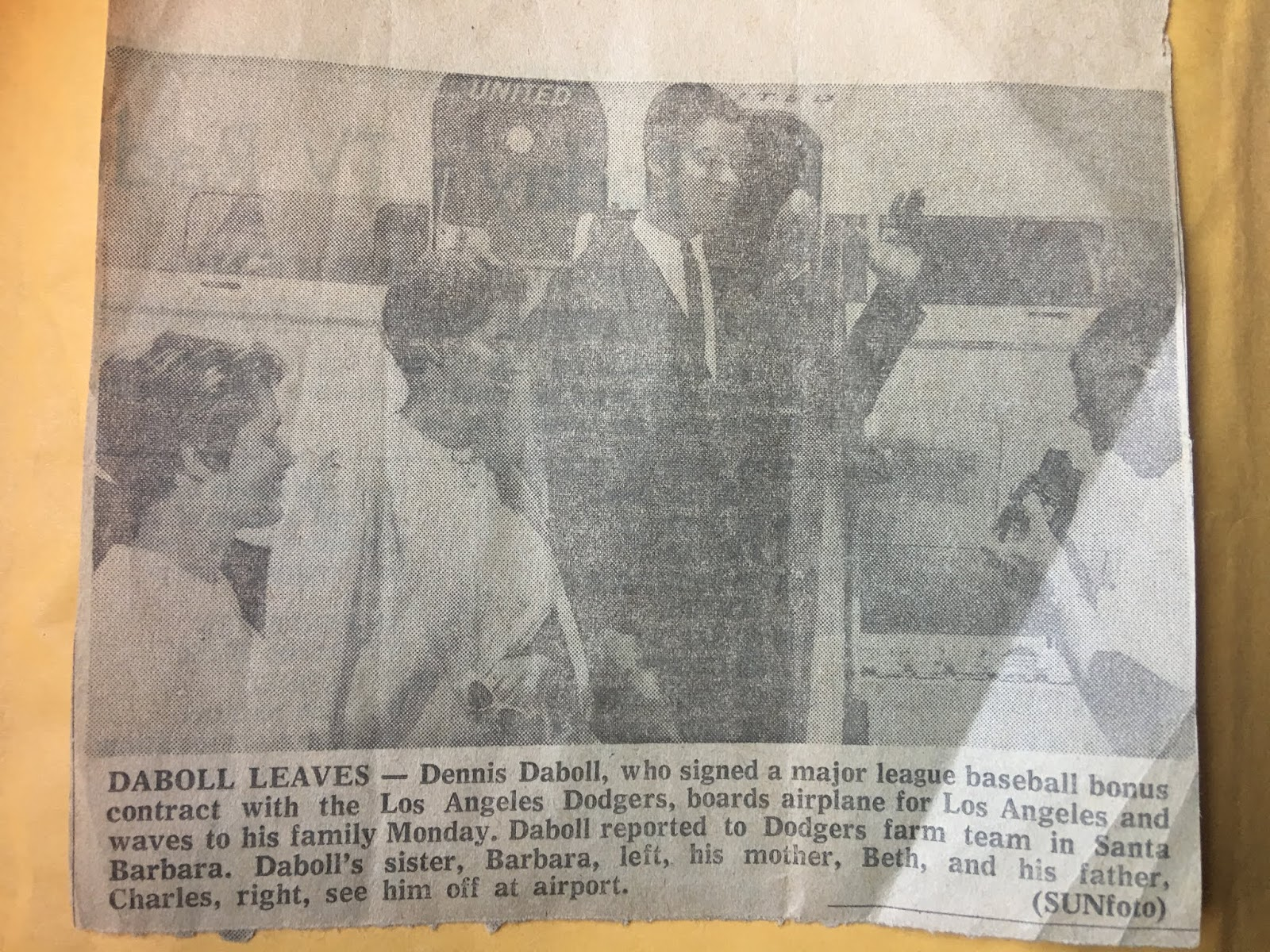 837911885c689 One item was a news clipping that featured a young Dennis leaving home for Santa  Barbara