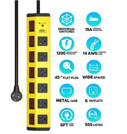 CRST Power Strip with Individual Switches and Flat Plug