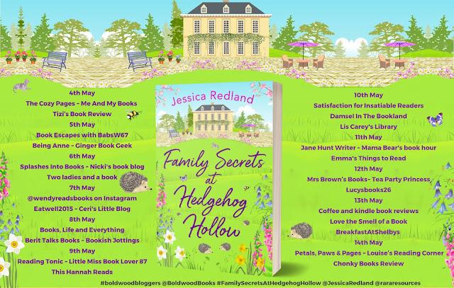 Family Secrets at Hedgehog Hollow by Jessica Redland blog tour banner