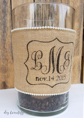 Learn how to DIY this monogrammed burlap candle wrap for a great wedding gift (or anytime) idea! Details at diy beautify!