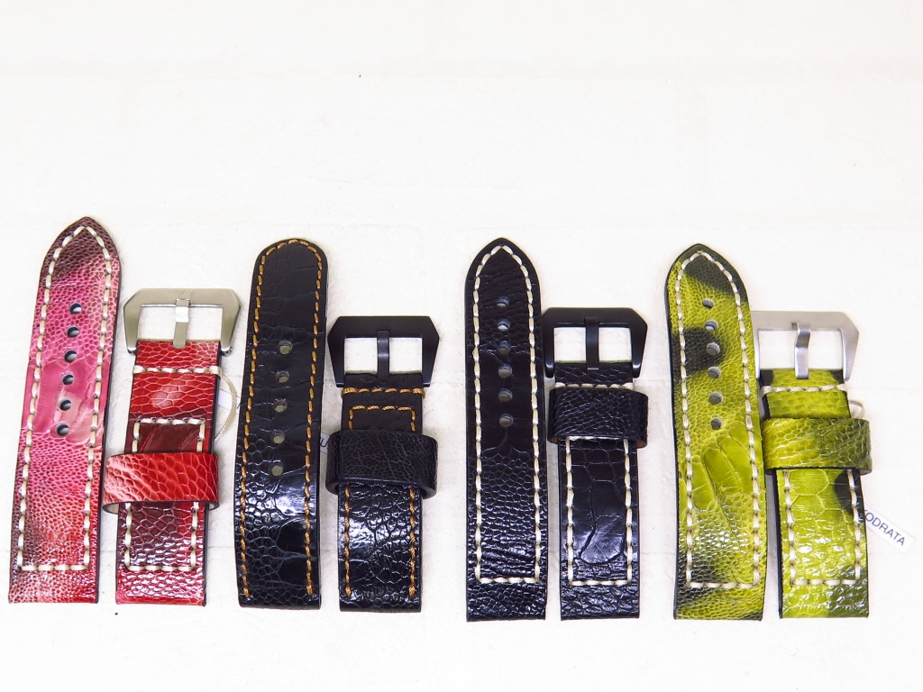 5 - STRAPS GENUINE OSTRICH THICK LEATHER STRAPS 26mm AND 24mm - CODE OB1/4 - OB4/4