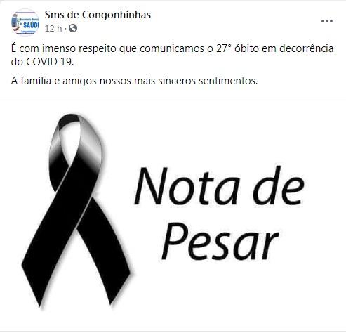 Secretaria Municipal de Saúde de Congonhinhas confirma o 27° óbito em decorrência de Covid-19.