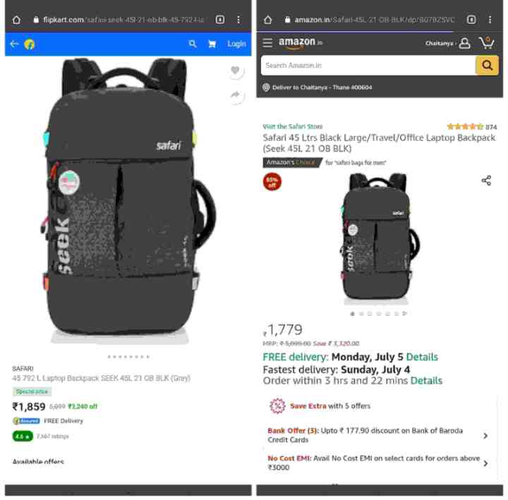 Flipcart Vs Amazon (Difference in their prices)