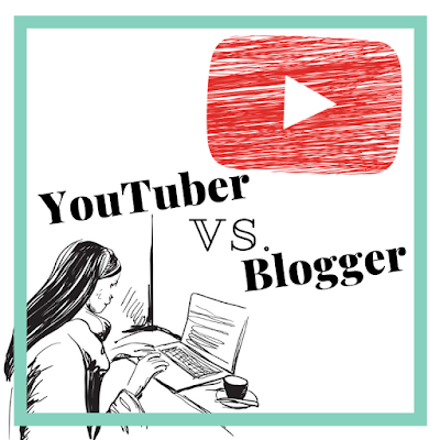 A picture of a black and white woman in front of a computer and the YouTube logo with the words YouTuber vs. Blogger in the center