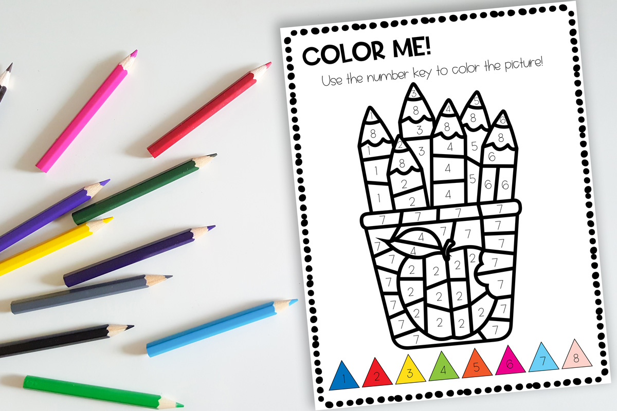 Color Pencils Themed Color By Number Preschool Printable