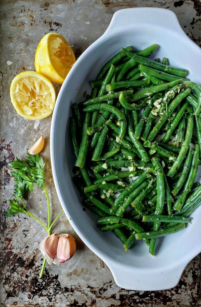 green beans, garlic, lemon, side dish, vegetables
