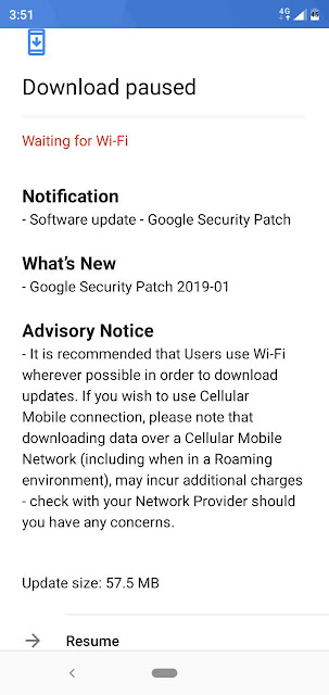 Nokia 5.1 plus receiving January 2019 Android Security update