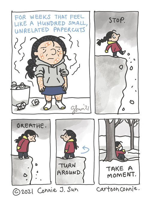 Sketchbook illustration about how emotional ups and downs can feel like a hundred paper cuts, comic strip by Connie Sun, cartoonconnie