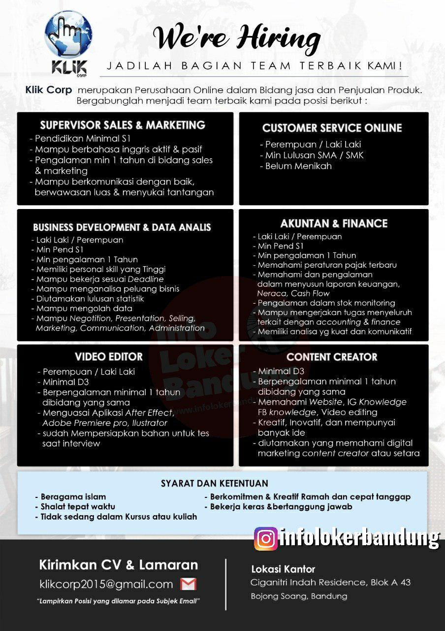 Lowongan Kerja Klik Corp Bandung Desember 2019